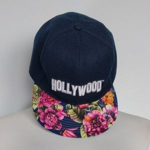 Accessories - Hollywood Floral Brim Navy Snapback Hat